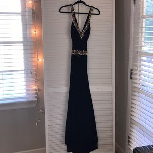 Black Gown with Gold Sequins
